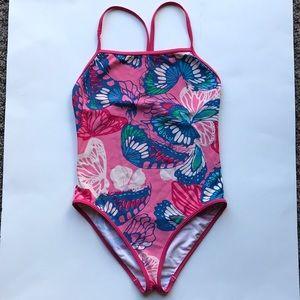 Girls Patagonia one piece bathing suit medium 10